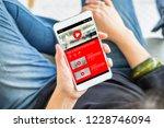 top view woman watching video... | Shutterstock . vector #1228746094