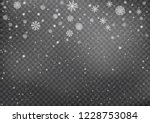 snowfall on black transparent... | Shutterstock .eps vector #1228753084