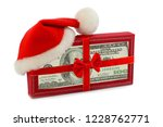 christmas gift in santa hat us... | Shutterstock . vector #1228762771