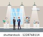 businessmen couple in corridor...   Shutterstock .eps vector #1228768114
