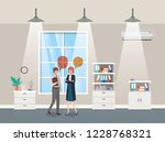 business couple talking in...   Shutterstock .eps vector #1228768321