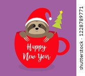 happy new year. sloth sitting... | Shutterstock .eps vector #1228789771