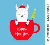 happy new year. llama alpaca... | Shutterstock .eps vector #1228790584