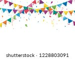 colorful bunting flags with... | Shutterstock .eps vector #1228803091