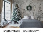 christmas  new year silver grey ... | Shutterstock . vector #1228809094