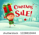 christmas sale  little elf... | Shutterstock .eps vector #1228810444