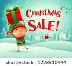 christmas sale  little elf... | Shutterstock .eps vector #1228810444