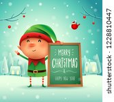 merry christmas  little elf... | Shutterstock .eps vector #1228810447