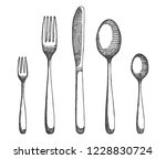 cutlery set of forks and spoons ... | Shutterstock .eps vector #1228830724