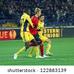 Small photo of KHARKIV, UA - NOVEMBER 22: Bayer Leverkusen FW Stefan Kie?ling (C) in action during UEFA Europa League Group stage football match vs. FC Metalist Kharkiv, November 22, 2012 in Kharkiv, Ukraine