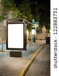 Blank Billboard On Bus Stop At...