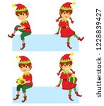 cute cartoon christmas elves... | Shutterstock . vector #1228839427