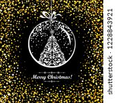 merry christmas  vintage card.... | Shutterstock .eps vector #1228843921