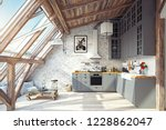 Modern Attic Kitchen Interior....