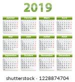 green calendar for 2019 year in ...   Shutterstock .eps vector #1228874704