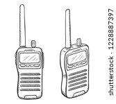 vector sketch walkie talkie....   Shutterstock .eps vector #1228887397
