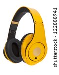 yellow headphones isolated on a ... | Shutterstock . vector #122888941