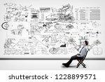 thoughtful businessman solving... | Shutterstock . vector #1228899571