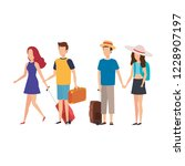 young people with suitcases... | Shutterstock .eps vector #1228907197