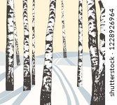 winter landscape with birches...   Shutterstock .eps vector #1228926964