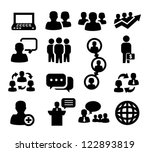 vector black people icons set... | Shutterstock .eps vector #122893819