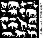 silhouette elephant bear eagle... | Shutterstock .eps vector #1228959877