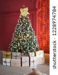 christmas  new year interior in ... | Shutterstock . vector #1228974784