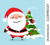 christmas greeting card with... | Shutterstock .eps vector #1228980187
