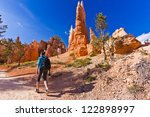Hiker In Bryce Canyon Landscape