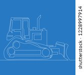 continuous one line bulldozer... | Shutterstock .eps vector #1228997914