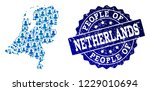 people collage of blue... | Shutterstock .eps vector #1229010694