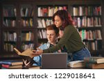 two of students study in the... | Shutterstock . vector #1229018641