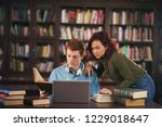 two of students study in the... | Shutterstock . vector #1229018647