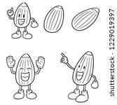 vector set of almond cartoon | Shutterstock .eps vector #1229019397