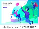 man and woman wearing virtual... | Shutterstock .eps vector #1229021047