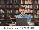 young male student study in the ... | Shutterstock . vector #1229025841