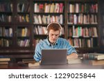 young male student study in the ... | Shutterstock . vector #1229025844