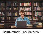 young male student study in the ... | Shutterstock . vector #1229025847