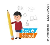 boy student with pencil... | Shutterstock .eps vector #1229029297