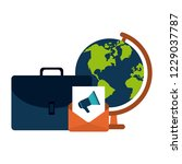 briefcase and email with world... | Shutterstock .eps vector #1229037787
