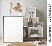 mock up poster frame in modern... | Shutterstock . vector #1229038117