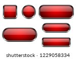 red buttons set. 3d glass icons ... | Shutterstock .eps vector #1229058334