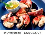Crab Claws In Blue Plate With...