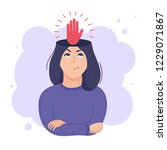 inside woman s head concept.... | Shutterstock .eps vector #1229071867