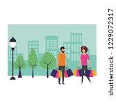 couple shopping cartoon | Shutterstock .eps vector #1229072317