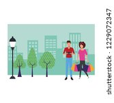 couple shopping cartoon | Shutterstock .eps vector #1229072347