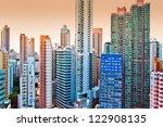 Hong Kong island tall buildings - stock photo