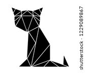 black cat made from triangles.... | Shutterstock .eps vector #1229089867
