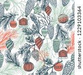 hand drawn fir branch with... | Shutterstock .eps vector #1229103364