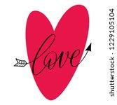love   valentine calligraphic... | Shutterstock .eps vector #1229105104